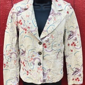 Johnny Was embroidered Floral and Dragon jacket